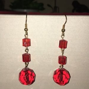 Vintage red faceted acrylic pierced Glam earrings